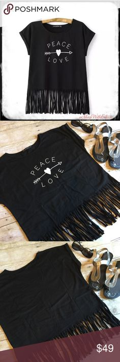 Lucky Leaves Boho Peace ❤️ Love Black Tshirt  Lucky Leaves Boho Peace ❤️ Love Black Tshirt This is the cutest peas/love her with an arrow printed fringe T-shirt ever! The sleeves are rolled and tact in place there is a slight scoop neckline and the bottom is cut into fringes! ITS AFORABLE!!! A must have for festival season!!! Great Quality!!! Lucky Leaves Tops Tees - Short Sleeve