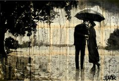 "Saatchi Online Artist: Loui Jover; Pen and Ink, 2013, Drawing ""rainy day rendezvous (SOLD)"""