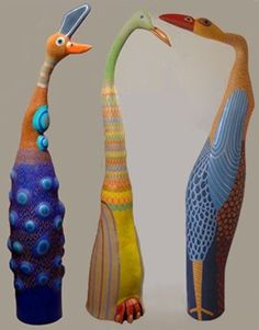 Barbara Kobylinska whimsical bird sculptures- use paper mache techinique over recycled bottles and foil