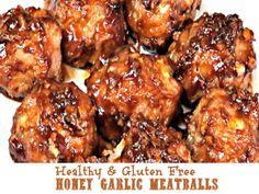 Healthy and Gluten Free Honey Garlic Meatballs.