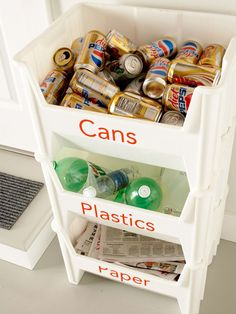 Make a recycling station. These stackable bins make it easy to organize your recycling without taking up too much space.These stackable bins make it easy to organize your recycling without taking up too much space. Organization Station, Garage Organization, Garage Storage, Diy Garage, Storage Bins, Organizing Ideas, Dollar Store Organization, Lumber Storage, Household Organization