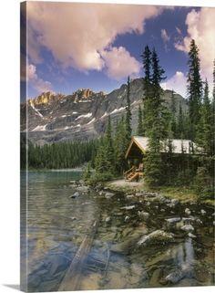 Darwin Wiggett Premium Thick-Wrap Canvas Wall Art Print entitled Cabin At Lake O'hara Lodge, Yoho National Park, British Columbia, Canada, None