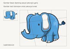 buat sendiri puzzle gajah sederhana
