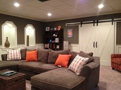 Basement Design Idea - love the inset lighted display areas!