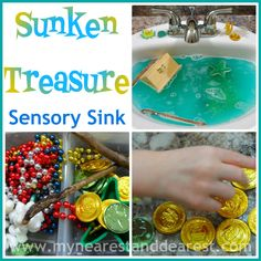 Sunken treasure activity for kids. A fun theme, sensory activity, and pretend play. A HUGE hit at our house!