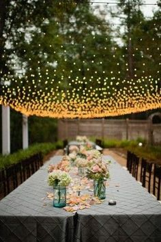 garden wedding decor with lights