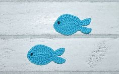 2 fish Application CROCHET fish by josasumaschendesign on Etsy Crochet Fish, Purses, Pillows, Sewing, Creative, Handmade Gifts, Stitches, Cotton, Crafts