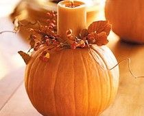 Pumpkins are super cheap after Halloween....this would look great for Thanksgiving