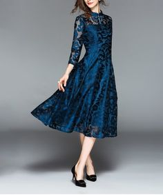 Zulily | A New Store Every Day Lace A Line Dress, Blue Lace, Autumn Winter Fashion, Amazing Women, Collars, Neckline, Lady, Dresses, High Point