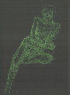 Drawing by Ödön Kunyi, Harleena X-ray drawing, green crayon on black paper, 2015