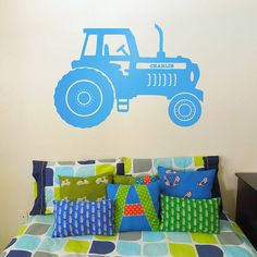 personalised tractor vinyl wall sticker by oakdene designs | notonthehighstreet.com