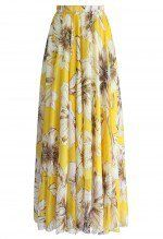 Marvelous Floral Maxi Skirt in Yellow - Maxi Skirt - Trend and Style - Retro, Indie and Unique Fashion Yellow Maxi Skirts, Long Maxi Skirts, Floral Skirts, Printed Maxi Skirts, Full Skirts, Pleated Maxi, Long Skirts For Women, Womens Maxi Skirts, Floral Chiffon