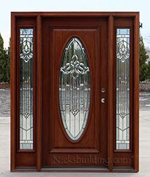 exterior mahogany door with sidelights oval glass