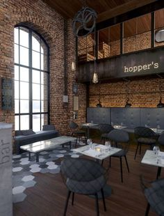 [Hopper's] Hopper's bar mixes warmth and industrial chic design. Warm browns balance the industrial feel of wood and concrete details. [ © Elix/ Design Studio]