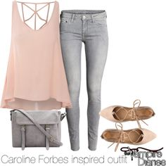 Caroline Forbes inspired outfit/TVD by tvdsarahmichele on Polyvore featuring мода, Glamorous and H&M