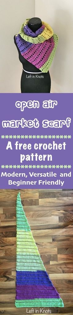 A FREE crochet pattern.  A stylish, modern, light weight scarf perfect for accessorizing!  Made with Caron Cakes or your favorite worsted weight yarn, this pattern is simple and perfect for beginners.  #yarn #crochet @yarnspirations