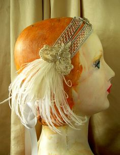 silver screen 1920s 1930's style headband with by owllamode, $67.00