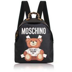 Moschino Bear Mini Backpack ($790) ❤ liked on Polyvore featuring bags, backpacks, backpack, genuine leather backpack, mini zipper pouch, moschino, zip pouch and mini backpack