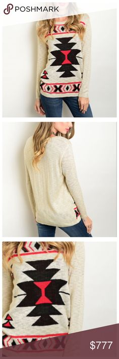 ❗️SALE❗️BEIGE RED BLACK TRIBAL SWEATER Perfect for December weather. Long sleeve tribal print light knit pull over sweater.  78% cotton 20% polyester 2% spandex. #750 ❌no trade, price firm❌. Bundle and save 10% Lee's boutique Sweaters Crew & Scoop Necks