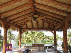 Palapa Kings™ Custom Mexican Raincape Palapa umbrella for shade over the bar, http://palapakings.com