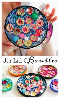 Arty Crafty Kids - Craft - Kids Christmas Craft - Jar Lid Baubles Easy Christmas Craft
