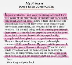 """I am your solid Rock, and you can conquer anything in my strength. My Princess, Don't ever compromise"" http://ibibleverses.christianpost.com/ iBibleverses - Google+"