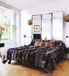 mirror, screen, headboard, guest bedrooms, fur blanket, bedroom furnitur