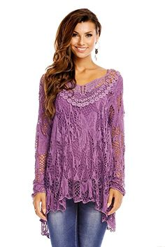 Ladies Long Sleeve Tunic top Lagenlook Lace Crochet Party Evening Casual Size 10 12 14 (Purple)