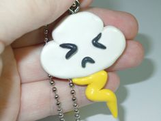 Kawaii Angry Cloud Necklace Polymer Clay Charm by laminartz, $8.99