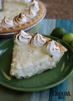 Key Lime Rice Pudding Pie made with Carolina White Rice. #DecadentDessert