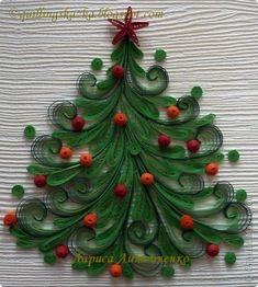 Поделка изделие Новый год Рождество Квиллинг Ёлочка Бумажные полосы фото 5