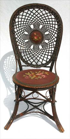 antique fancy Victorian wicker side chair w needlepoint seat and rare medallion back