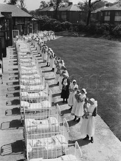 Sunshine babies- treatment of jaundice babies before UV technology.