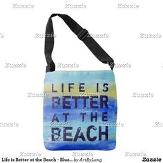 Shop Life is Better at the Beach - Blue Abstract Art Crossbody Bag created by ArtByLang. Art Store, Blue Abstract, Edge Design, Aqua Blue, Life Is Good, Print Design, Crossbody Bag, Reusable Tote Bags, Good Things
