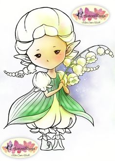 Digital Stamp - Lily of the Valley Sprite - Whimsical Flower Fae - digistamp - Fantasy Line Art for Cards & Crafts by Mitzi Sato-Wiuff
