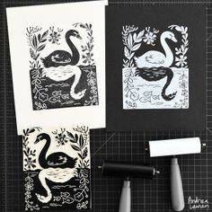 Swan : Original Blockprint by Andrea Lauren