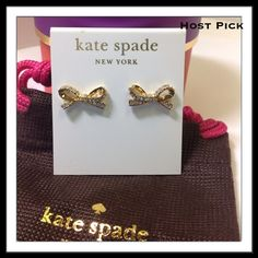 """Kate Spade Gold Pavé Skinny Mini Bow Studs Skinny Mini Pavé Bow Stud earrings by Kate Spade. Gold color, enamel coated metal with gold plated metal. 14-karat gold filled posts 0.4"""" high x 1"""" wide  Includes original dust bag and gift box.  PayPal  Trades  Holds kate spade Jewelry Earrings"""