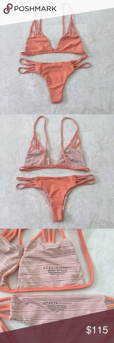 acacia santorini top + maui bottoms in coral Great condition! Purchased and unfortunately too small for me:-( Beautiful color that makes you look super tan! Not sure the exact name of the color, but it's a orange coral color. Only flaw is the two or three stains as pictured on the front of the bottoms. The crotch is extremely clean. Both size medium. Ask questions and make an offer! acacia swimwear Swim Bikinis