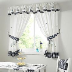 kitchen curtain sets | Bluebell Gingham Kitchen Curtains Blue White | eBay