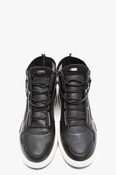 aDIDAS SLVR Black Leather SYIN HIgh-TOP Sneakers