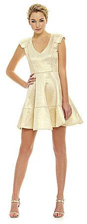 ABS by Allen Schwartz Fit-and-Flare Paisley Metallic Dress