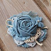 """Украшения ручной работы. Ярмарка Мастеров - ручная работа Брошь из ткани """"Soft blue"""" брошь цветок текстильная брошь бохо голубой. Handmade."""