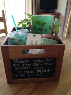 """End of the year Room Mom thank you gift. Thank you for all of your help this school year.it really """"mint"""" a lot to us! Stuff a box with all things """"mint"""". you gift for mom Thank You Gift For Parents, Thank You Gifts, Gifts For Mom, Thank You Mom, Teacher Thank You, Craft Gifts, Diy Gifts, Xmas Gifts, Thank You Gift Baskets"""