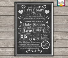 Sweet Little Baby Chalkboard Baby Shower - Gender Neutral White Hearts - Valentines Digital Printable Invitation 4x6 or 5x7 jpg or pdf
