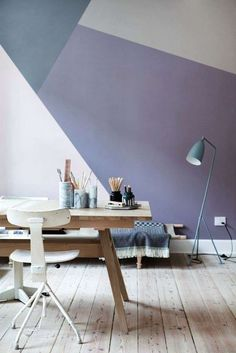 a new kind of accent wall - geometric wall paint Home Office Inspiration, Interior Inspiration, Office Ideas, Design Inspiration, Office Decor, Interior Ideas, Interior Architecture, Interior And Exterior, Interior Design