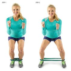 Squat Step with Resistance Band: Begin by standing with your feet a little closer than shoulder-width apart. Securely loop a resistance band around both feet. Drop your butt back into a squat, focusing the weight in the heels, keeping the abs pulled in tight and your chest up. Side step quickly in a controlled motion back and forth as many times as possible in 60 seconds.