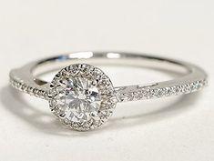 I usually don't do this: Halo Diamond Engagement ring white gold. Blue Nile.