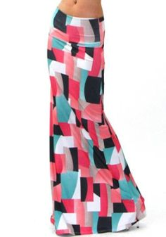 COLORFUL GEOMETRIC PATTERN GRAPHIC ART FOLDOVER BANDED WAIST LONG MAXI SKIRT XL
