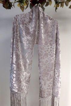 Unique Silver Burnt Silk Velvet Evening Wrap - Velvet Burnt Silk Shawls - Dressy Evening Shawls