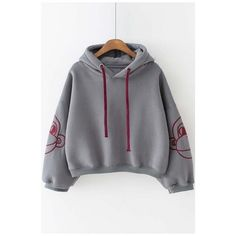 New Arrival Hooded Contrast Embroidery Monkey in Long Sleeve Cropped... (2.325 RUB) ❤ liked on Polyvore featuring tops, hoodies, hoodie crop top, long hoodie, embroidered hoodies, long sleeve hoodies and long tops